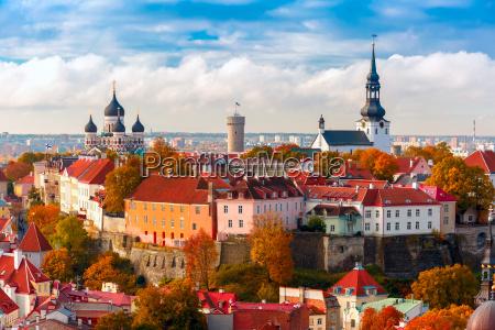 aerial view old town tallinn estonia