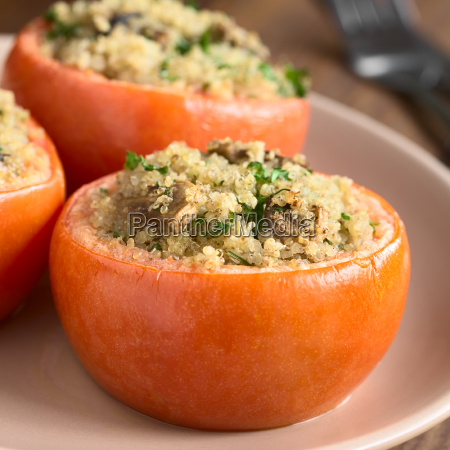 baked tomato stuffed with quinoa and