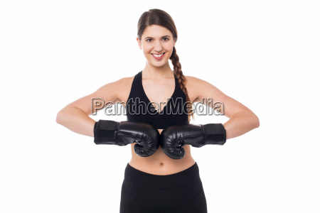 fit woman ready for a boxing