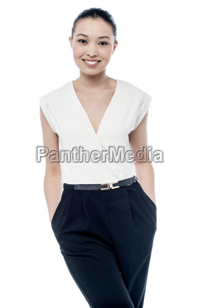 fashion woman with hands in pocket