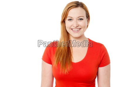 pretty lady in vibrant red top