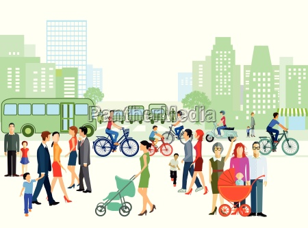 city with individuals and families