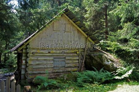 old hut on a hiking trail