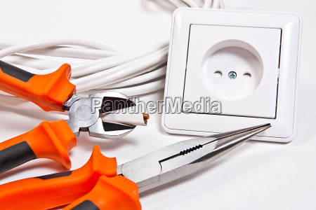 electrician tools cable and wall socket