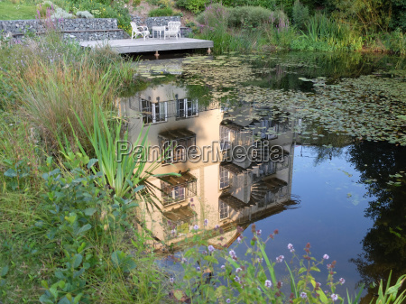 house reflected in lake