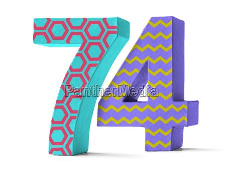 colorful number of cardboard number 74