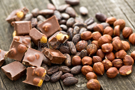 chocolate hazelnuts and cocoa beans