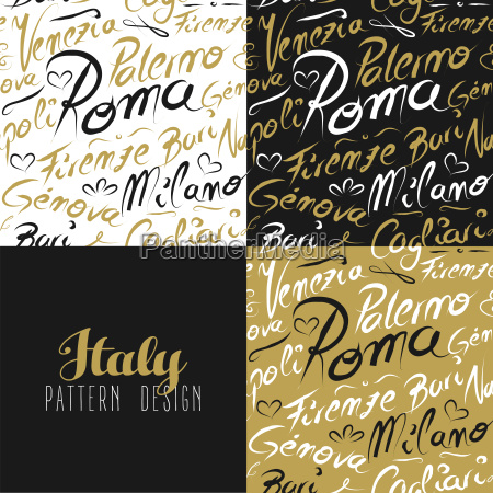 travel italy city seamless pattern gold