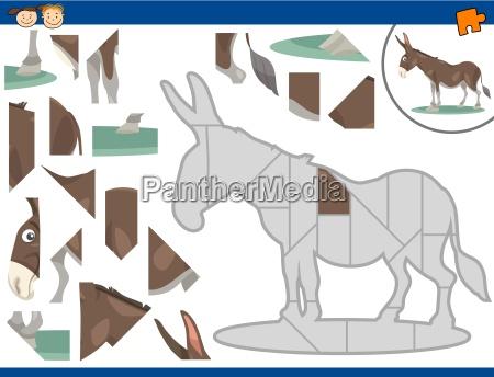 cartoon donkey jigsaw puzzle task