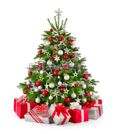 christmas tree and gifts in red