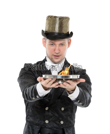 illusionist shows tricks with fire