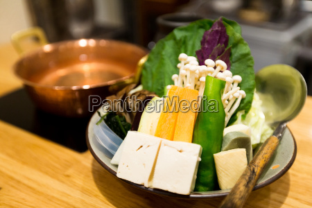 japanese cuisine hot pot on background