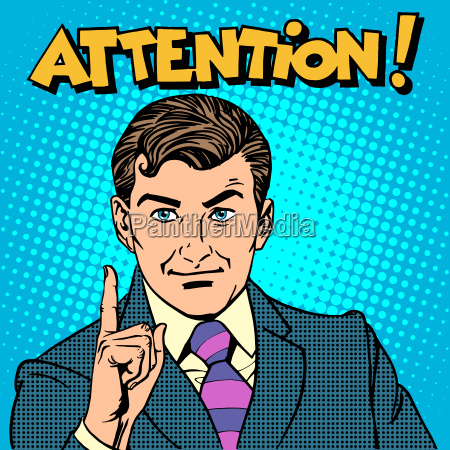attention businessman pointing finger