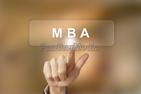 business hand clicking mba or master