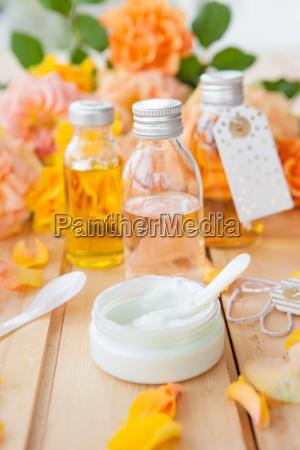 natural cosmetics with rose petals