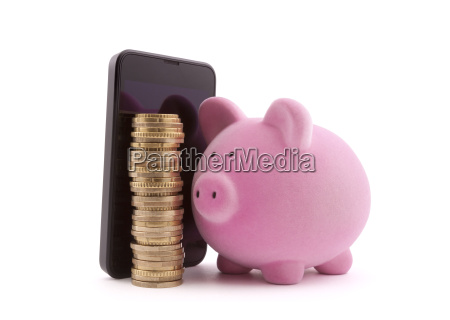 piggy bank with mobile phone and