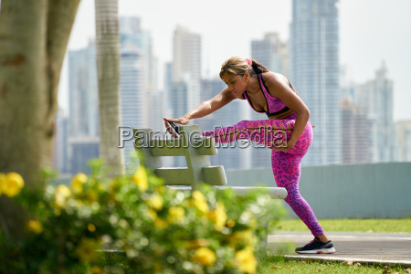 woman doing stretching before sports training