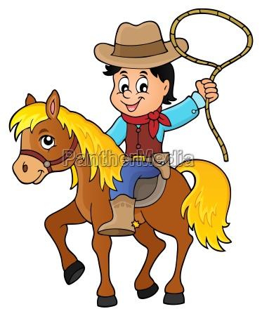 cowboy on horse theme image 1