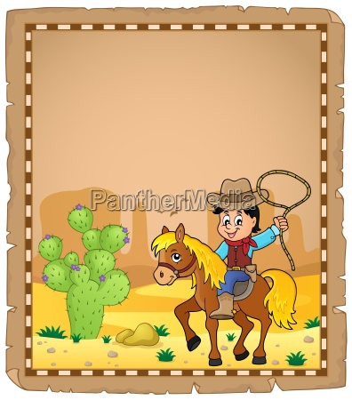parchment with cowboy on horse theme