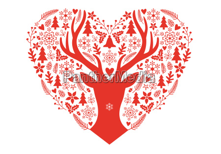 christmas card with red heart