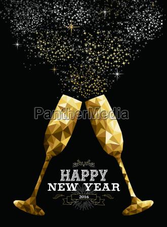 happy new year 2016 toast glass