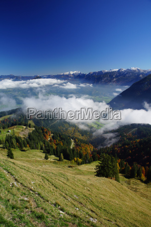 blue sky with mountain landscape