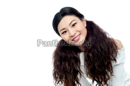 smiling pretty girl isolated on white