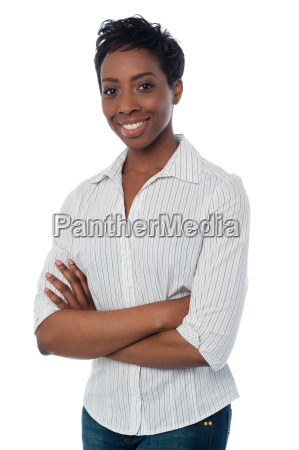 smiling woman posing over white