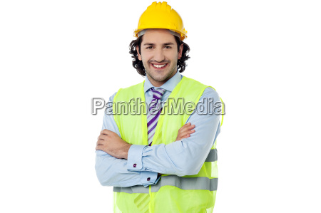 handsome architect isolated over white