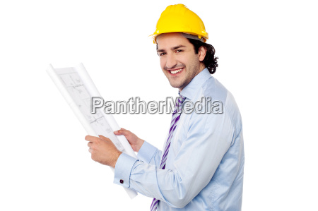 construction engineer studying the plan