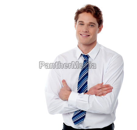 smiling male employee isolated on
