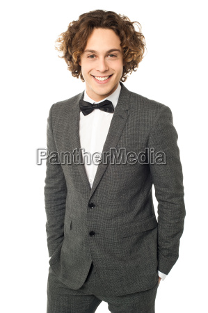 young man dressed for wedding