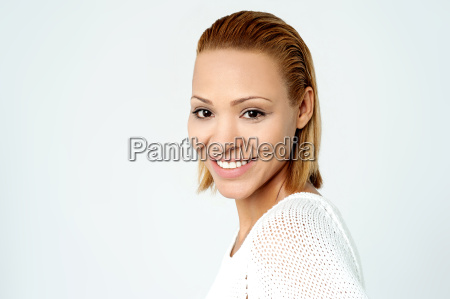 attractive woman over grey brackground