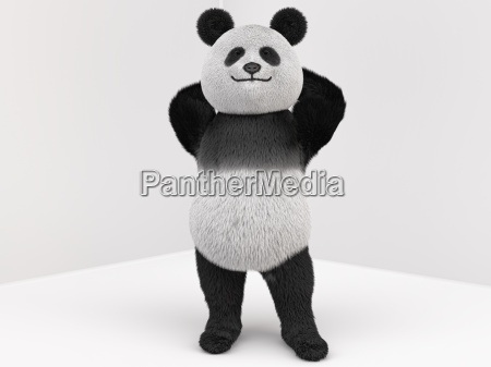 panda character with fur standing on