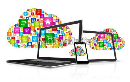cloud computing symbol and computer set