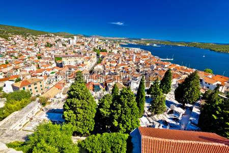 adriatic town of sibenik aerial view