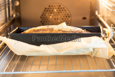 marble cake in the oven