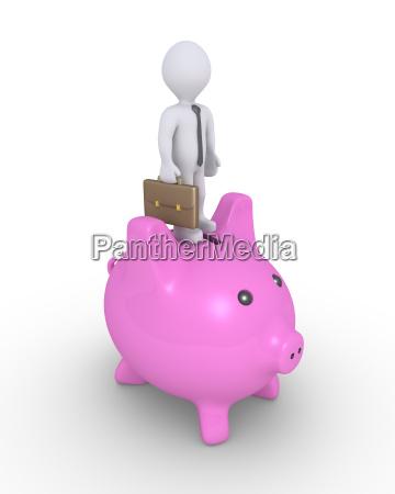 pig money box and businessman on