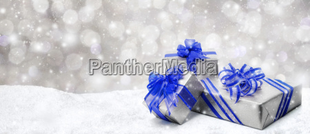 christmas gifts in blue and silver