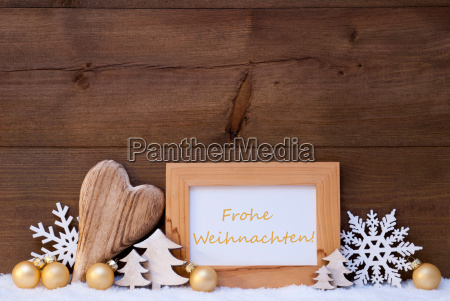 golden decoration snow frohe weihnachten mean