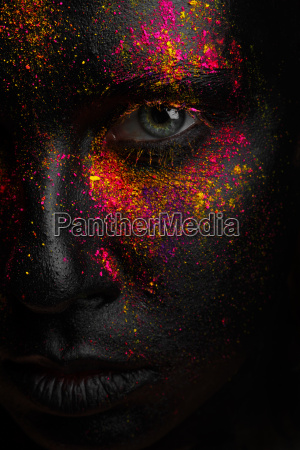 creative art black makeup with bright