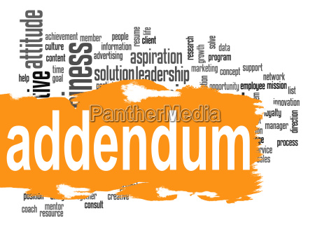 addendum word cloud with orange banner