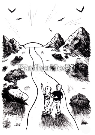 couple walking into nature towards sun