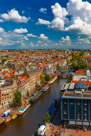 amsterdam city view from westerkerk holland