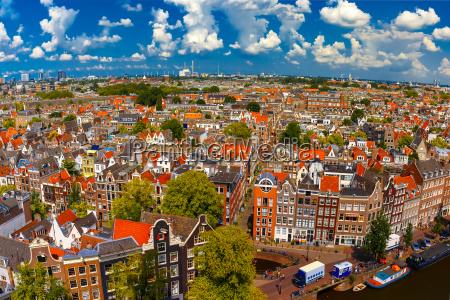 amsterdam city view from westerkerk holland