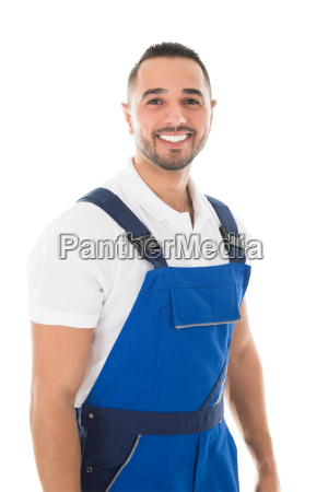 portrait of happy male janitor