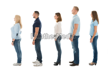 side view of people standing in