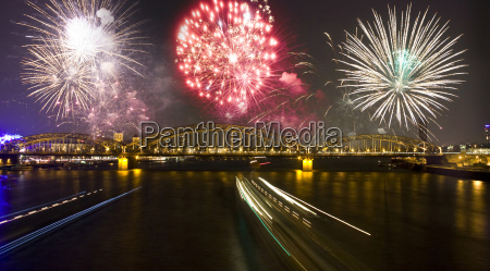 firework over the rhine river in