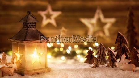 christmas, scene, wooden, lantern, light - 15291051