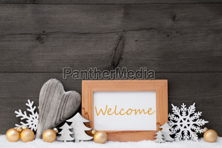 golden gray christmas decoration snow welcome